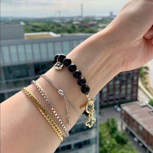Black Onyx Gold Plated Clover Charm Bracelet